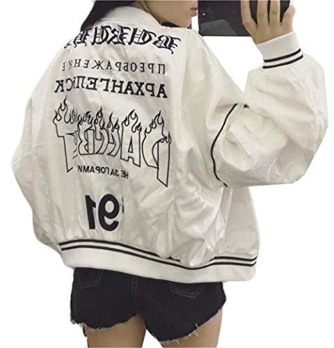 Stampa Giovane Leggero Cerniera Outdoor Cappotto Fidanzato A Biker Jacket Huixin Donna Bomber Chiusura Costume College Primaverile Moda Autunno Fiore Bianca Giacca Elastico n6qRYP0x