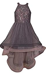 Girl's Grey and Pink Sequin Prom Dress