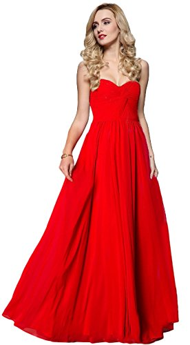 Meier Women's Strapless Sweetheart Pleated Evening Prom Dress (10, Red)]()