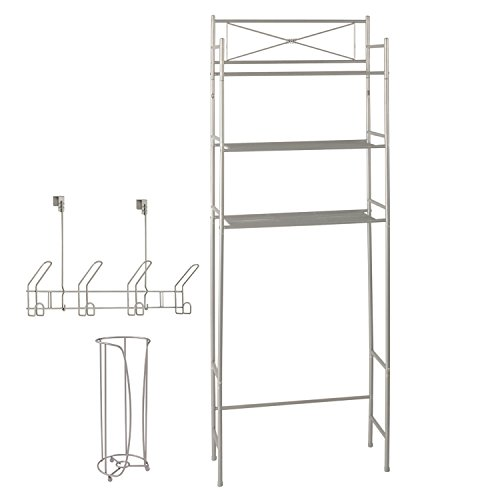 Bathroom Cabinets Racks - Space Saving 3 Piece Bathroom Organizer Set by LDR | Includes 3 Shelf Over The Toilet Unit, Toilet Paper Storage Holder And 4 Hook Over The Door Rack, Classy Design, Satin Nickel Finish