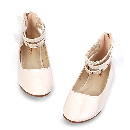nerteo Girls Shoes Ballet Flats Kids Comfort Walking Shoes for Wedding, Party Ivory 4 M US Big Kid -