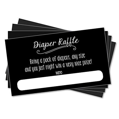 25 Diaper Raffle Ticket Inserts for Baby Shower Sprinkle Invitations - Neutral Unisex - Black Chalkboard ()