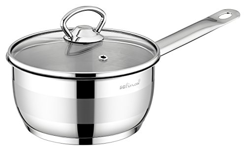 (SAFINOX 18/10 Stainless Steel Tri-Ply Thermo Capsulated Bottom 3-Quart Sauce Pan with Glass Lid, Induction Ready, Dishwasher Safe)
