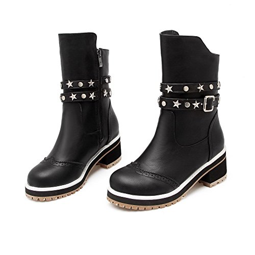 Zipper Toe Closed Black Kitten Round AmoonyFashion Boots Heels top Low Women's PU pRwO5n