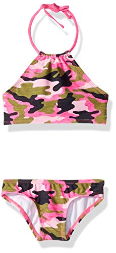 (Kanu Surf Little Girls' Mahina Beach Sport Halter Bikini 2-Piece Swimsuit, Erin Pink Camo, 6)