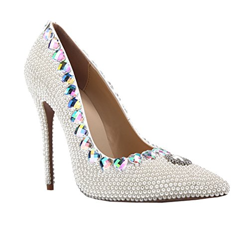 Women's Stiletto Sexy Patent Toe Dress Party White Evening Beaded TDA Shoes Leather Pointed qzCnwdIgv