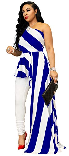 Kearia Women Sexy Striped One Shoulder High Low Irregular Tunic Tops Blouse Shirt Maxi Dress White & Blue Large