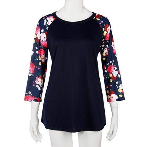 Goodsatar Moda Mujer Talla extra Tops Floral Manga larga Cuello redondo Poliéster Casual camisa de impresión Blusa Marina