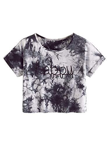 SweatyRocks Womens Tie Dye Letter Print Crop Top T Shirt,Multicolor  9,Medium =S (11 Year Old Girls Crop Tops)