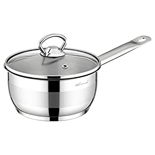 SAFINOX 18/10 Stainless Steel Tri-Ply Thermo Capsulated Bottom 3-Quart Sauce Pan with Glass Lid, Induction Ready, Dishwasher Safe