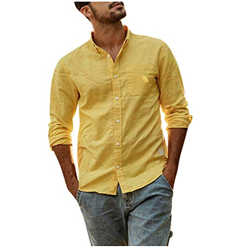 Stoota Fashion Mens Summer Button Casual Linen and Cotton Long Sleeve Top Blouse Yellow