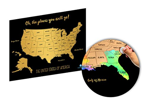 Watercolor United States Of America Scratch Off Map Deluxe Edition  Usa   16  X 20     Perfect Gift For Any Travel Enthusiast
