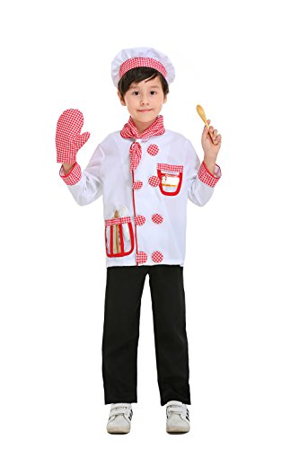 Yolsun Chef Role Play Costume Set for kids, Boys' and Girls' Restaurants Cooking Dress up and Play Set (8 pcs) (6-7y, white)