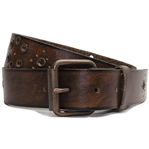 Nickel Free Genuine Leather Belt, Brown Grommet - 36