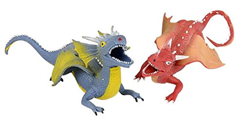 LightShine Products 2 Piece Rubber Squishy Stretchy Dragon Toy Figures Bundle (Red & Blue)