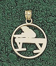 Gymnast on Vaulting Horse Silhouette Pendant - 10KT Gold Jewelry