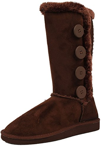 Aling33 Women's Aling33 Faux Suede Buckle Comfort Mid Calf With Lined Faux Fur, Brown, 7 M US