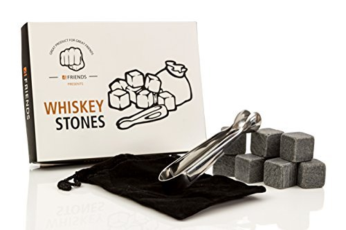 - 4Friends Whiskey Stones Set - 9 Premium Reusable Whiskey Chilling Stones in Gift Box with Velvet Carrying Pouch and 1 Set of Tongs - Made with 100% Pure Soapstone