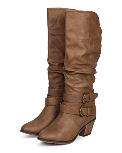 Liliana DA24 Women Distressed Leatherette Slouchy Knee High Buckle Strappy Riding Boot - Beige Leatherette yrU96Qp