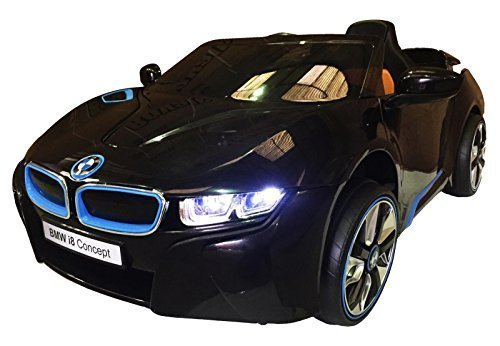 12v ride on bmw i8 concept licensed car toy for kids boys and girls with music lightsleather seat remote control black