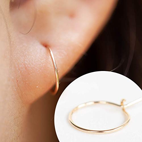Dainty Every day Essentials 14K Yellow Gold Filled Hoop Cute Huggie Earrings for - Filled Gold Hoop