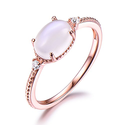 Moonstone Engagement Ring 925 Sterling Silver Rose Gold Plated CZ Cubic Zirconia Solitaire Oval Milgrain by Milejewel Moonstone engagement rings