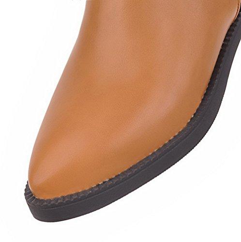 AgooLar Damen Rein Blend-Materialien Niedriger Absatz Ziehen auf Spitz Zehe Stiefel Gelb