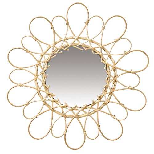 Time Concept Boho Willow Round Wall Mirror - Helene Design Glass, Mounted Display, Home & Living Room Decor