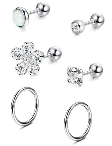 Milacolato 6Pcs CZ Barbell Helix Piecing Cartilage Earring Stainless Steel Tragus Body Piercing Jewelry 16-18G