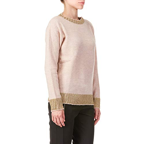 Femme Pink Mohair Trussardi P120 Pull Rose Stretch Round Neck Jeans antique Pz7qHwA