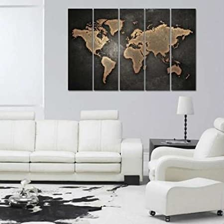 150x100cm vintage 5 pieces world map canvas wall art home decor wall 150x100cm vintage 5 pieces world map canvas wall art home decor wall hanging world map canvas gumiabroncs Gallery