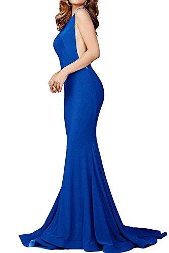 MARSEN Women's Sexy Mermaid V Neck Deep Back Long Evening Prom Dreses Blue Size (Jersey Deep V-neck Dress)