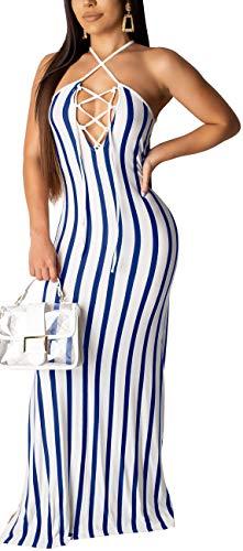 Women's Bodycon Sleeveless Bandage Stripes Long Maxi Stretchy Dress Sexy Halter Neck Strape Clubwear Comfy Floor Length Clubwear Backless
