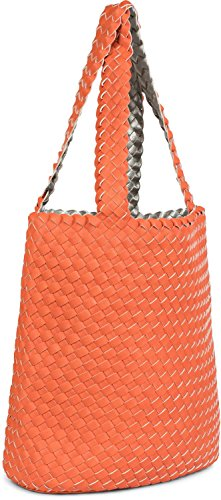 of ladies in shopping styleBREAKER in shoulder bag hand Color bags set bag 02012182 look bag Silver Orange Gold bag bag 2 woven Beige bag reversible qEEUwv4
