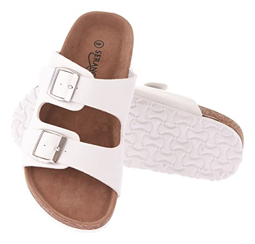 Seranoma Women's Comfortable Cork Sandals-Casual Slide for Spring/Summer, White, 9 M US