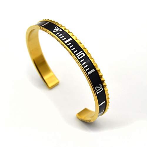 (Fashion loft Marine Dial Steel Speedometer Bangle Inspired by Watch Bezel Submariner (Gold Black))