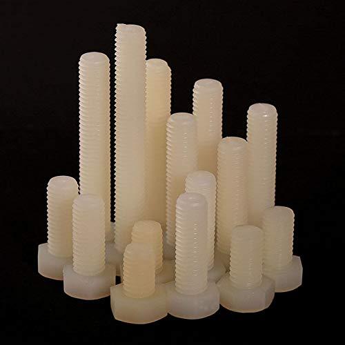 Insulated Plastic Screws M1015//20//25-100mm Hex Screws,Plastic Screws M10 DIN933 Nylon Hex Bolts Screws