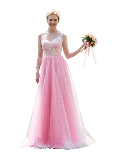 CLOCOLOR Women's Tulle Lace V Neck Long Bridesmaid Dress Maid of Honor Gowns Size 26 Pink