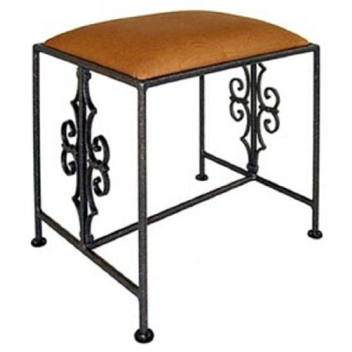 Grace Gothic Curl Wrought Iron Bench, 20in, Figurine Fabric, Jade Patina Finish