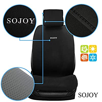Sojoy Universal Four Season Fashionable Car Seat Cushion Cover for Front of 2 Seats (Black): Automotive