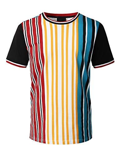 URBANCREWS Mens Hipster Hip Hop Vertical Striped Knit T-Shirt Multicolor - S