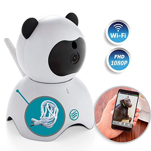 JEZBO Wireless 1080P Security Camera 5 ft EXT Cord + LAN Cable Bundle - Indoor Home Surveillance System WiFi, Motion Detector, Baby, Pet, Nanny, Spy Cam Monitor, Hidden, HD, Infrared, Cute Panda
