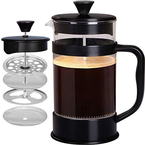 KICHLY - 8 tazas (1 litro / 1000 ml) Cafetera Francesa espresso y tetera con triple filtro embolo de acero inoxidable - Negro