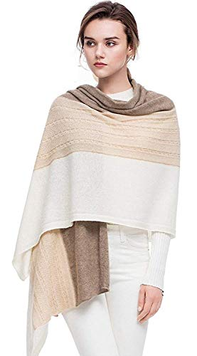 women scarves 100% Cashmere scarf Winter Wrap Pashmina Extra Large cashmere Shawl Contrast Color cable pattern Twist Knit (Beige) ()