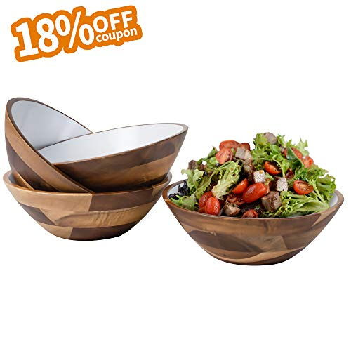 7-Inch Acacia Wooden Salad Bowls - Set of 4 Bowls for Cereal Fruit Pasta - Acacia Wood Bowl Set White by AIDEA