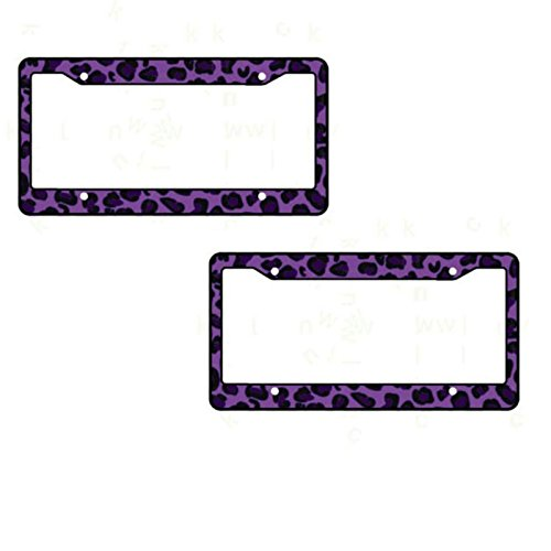 A Set of 2 Made in USA Plastic License Plate Frame Safari Animal Series- Leopard Purple