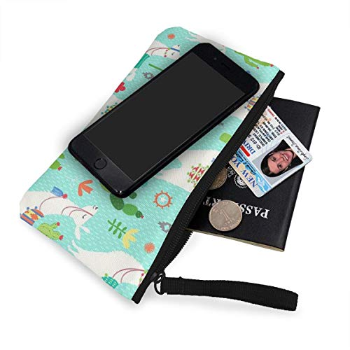 76f3f75e4071 XUJ YOGA Women Girls Teens Tees Llama and Cactus Mint Green Canvas  Smartphone Wristlets Cash Coin Purses Make Up Bag Cellphone Clutch Purse  with Wrist ...