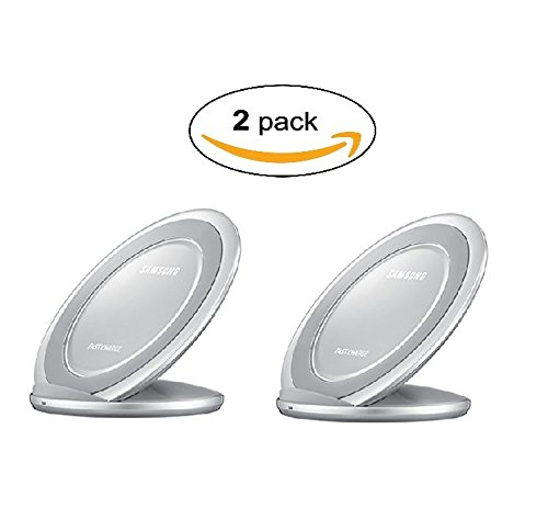 Samsung Qi Certified Fast Charge Wireless Charger Stand w/Wall Charger-Supports Qi compatible phones including the Samsung GS 8Note8,Apple iPhone 8, and iPhone X (US Vers.)- Silver (2 Pack) by Samsung