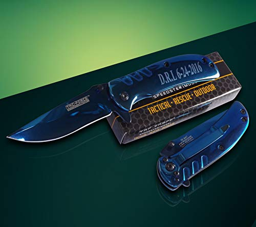 Eternity Engraving 7 Engraved Pocket Knifes, 7 Folding Pocket Knives Gift Set Personalized for Men and Women, Customized Knife Gift (Blue) by Eternity Engraving (Image #7)