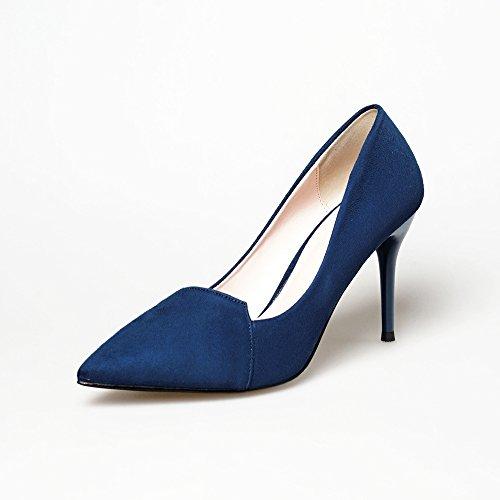 Punta fina con tacones altos negros de alta costura-talón de luz los zapatos de tacón alto de satén The blue